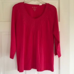 Chicos V-Neck Cotton 3/4 Sleeve Top Size 2 Large